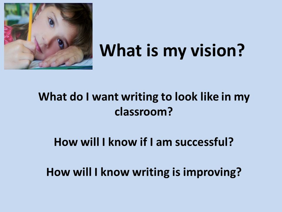 What is my vision. What do I want writing to look like in my classroom.