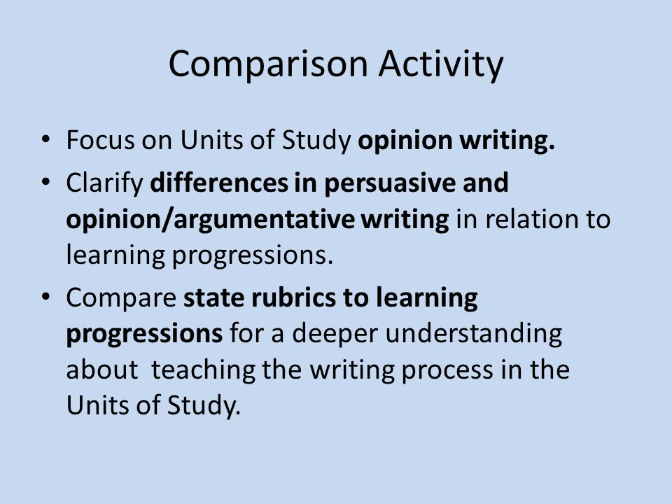 Comparison Activity Focus on Units of Study opinion writing.