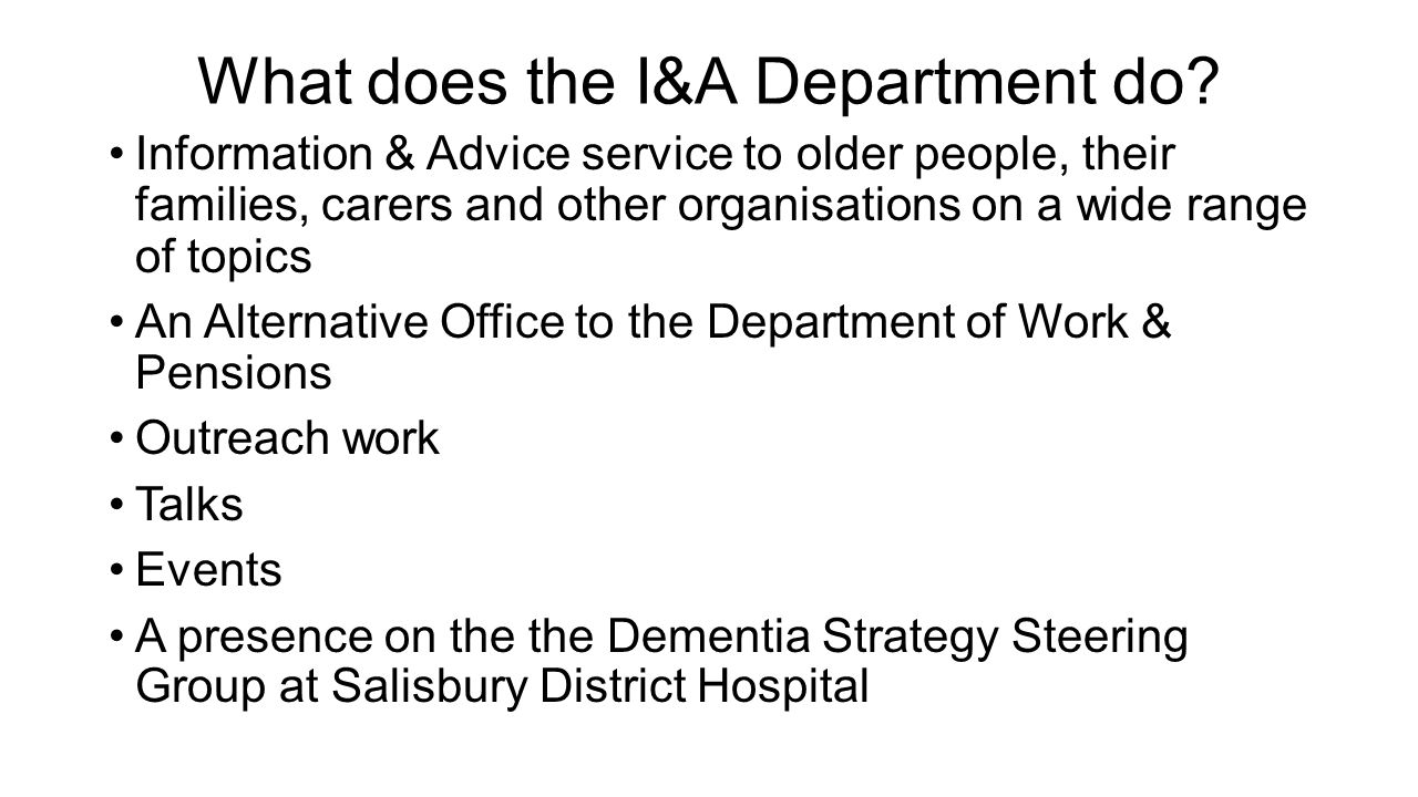 What does the I&A Department do