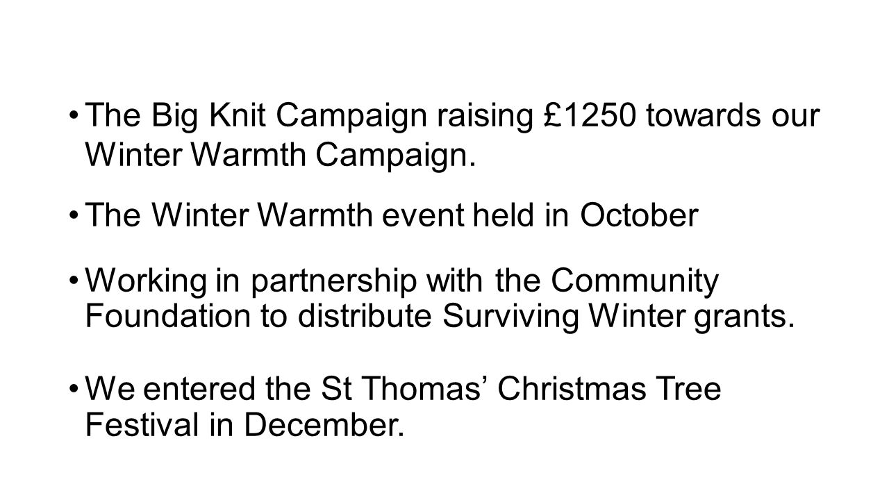 The Big Knit Campaign raising £1250 towards our Winter Warmth Campaign.