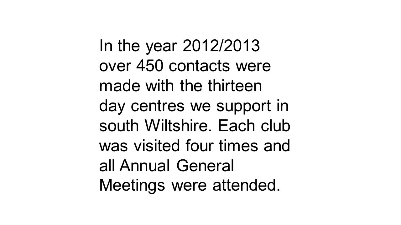 In the year 2012/2013 over 450 contacts were made with the thirteen day centres we support in south Wiltshire.