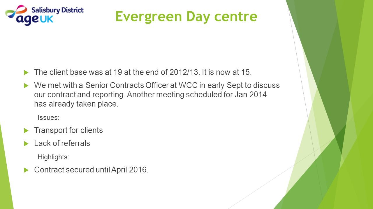 Evergreen Day centre The client base was at 19 at the end of 2012/13. It is now at 15.