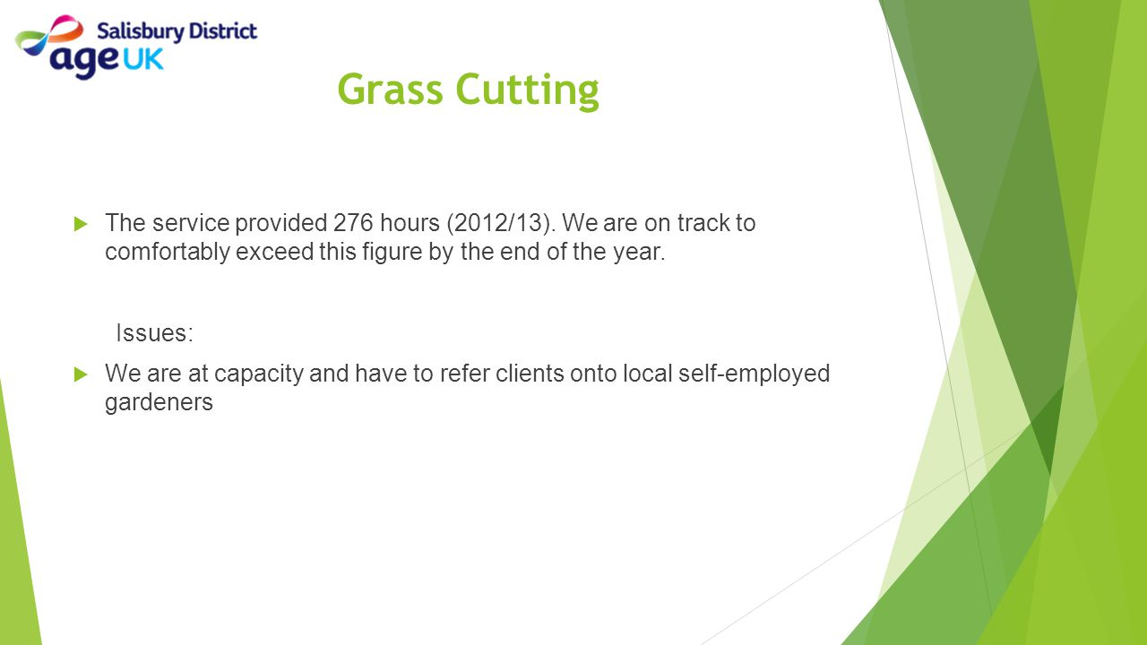 Grass Cutting The service provided 276 hours (2012/13). We are on track to comfortably exceed this figure by the end of the year.