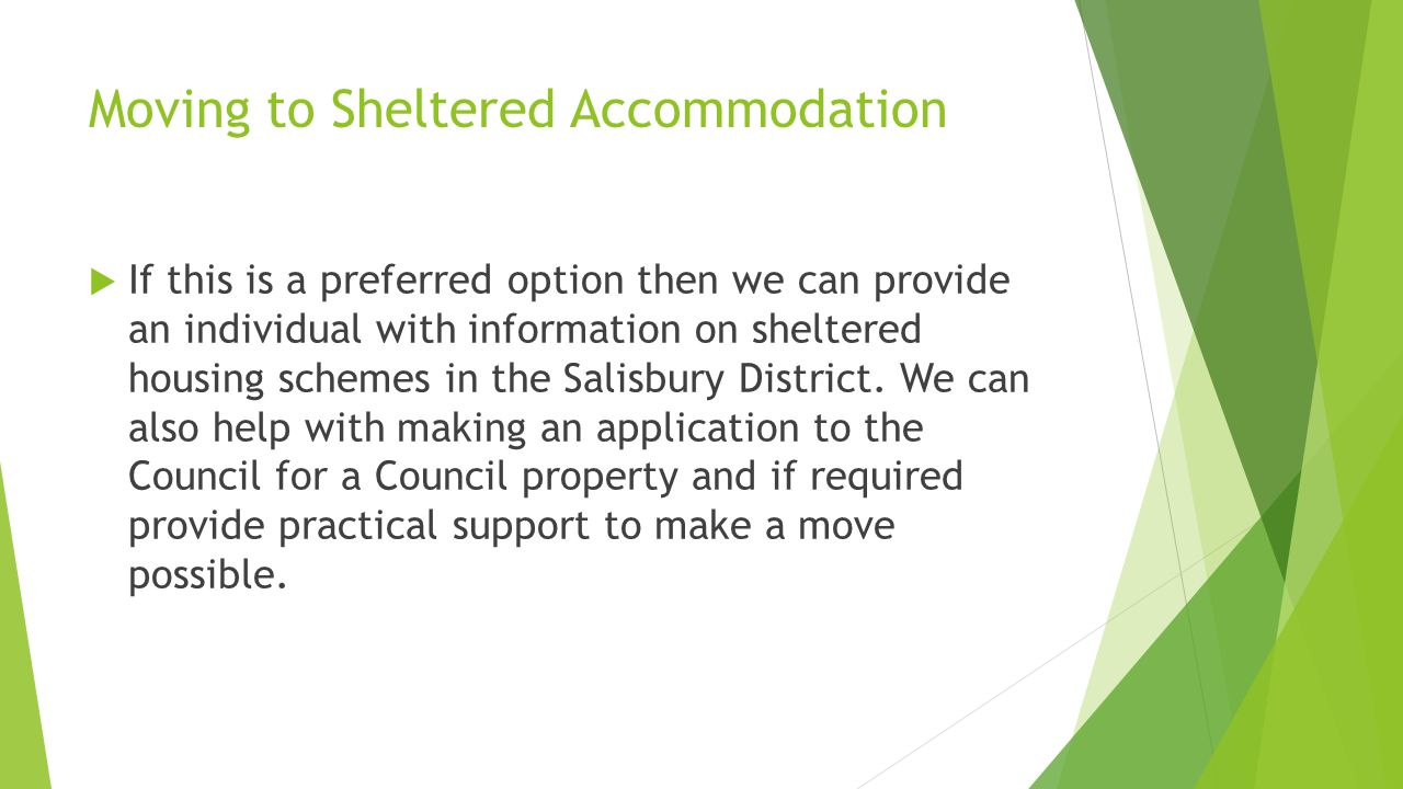 Moving to Sheltered Accommodation