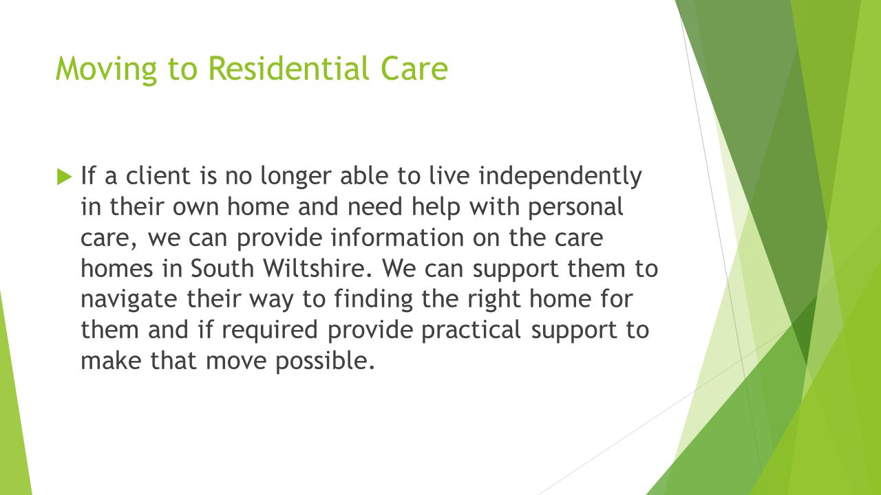 Moving to Residential Care