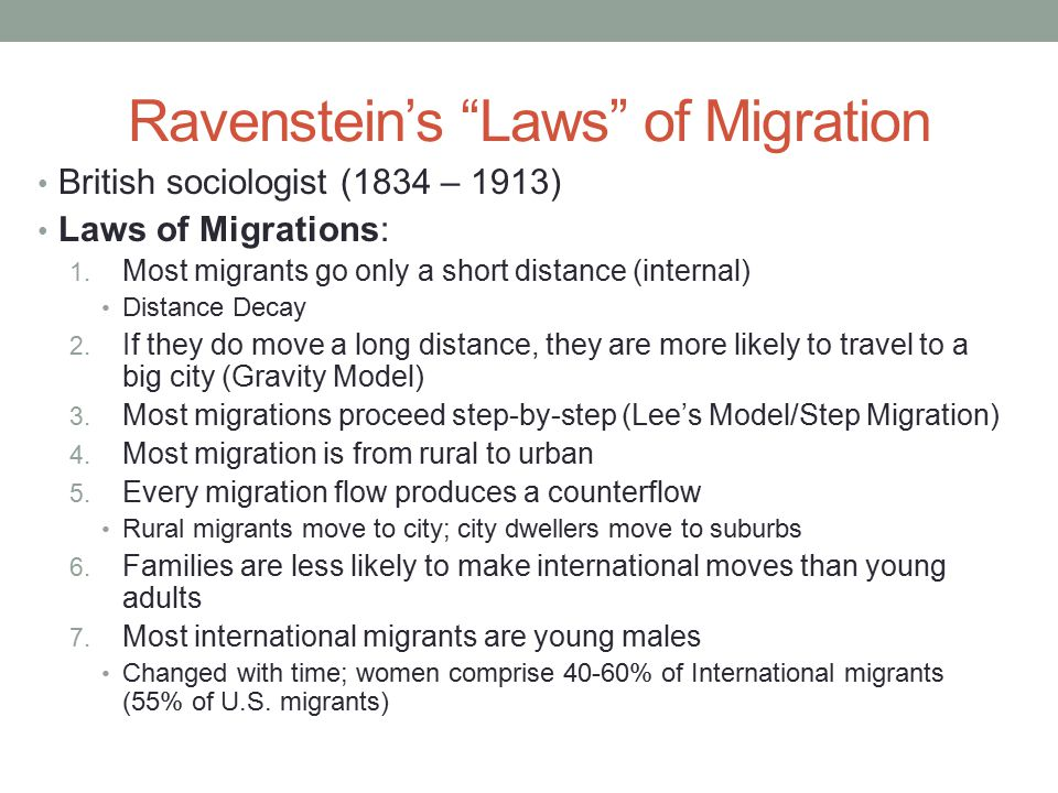 Ravenstein's Laws of Migration