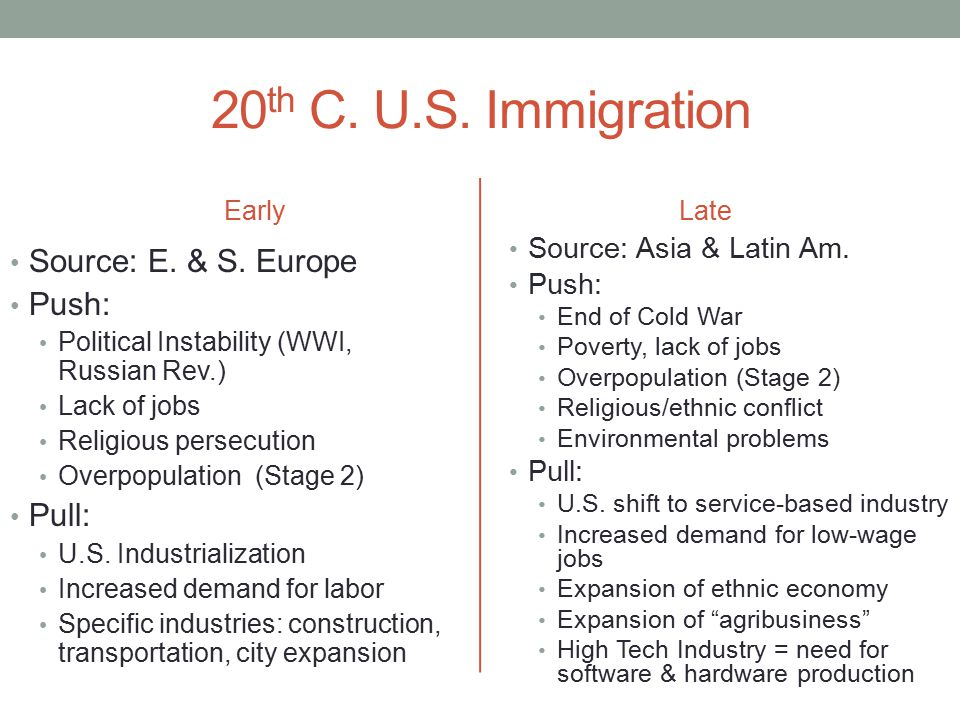 20th C. U.S. Immigration Source: E. & S. Europe Push: Pull: