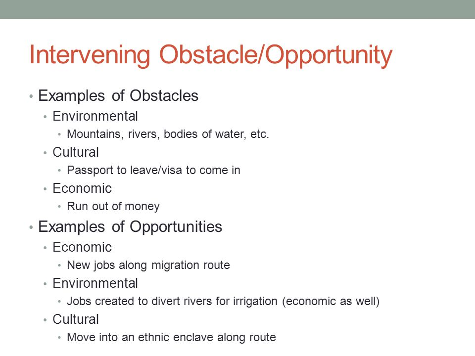 Intervening Obstacle/Opportunity