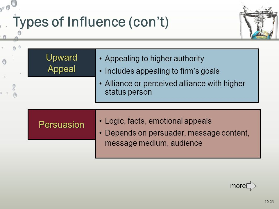 Types of Influence (con't)