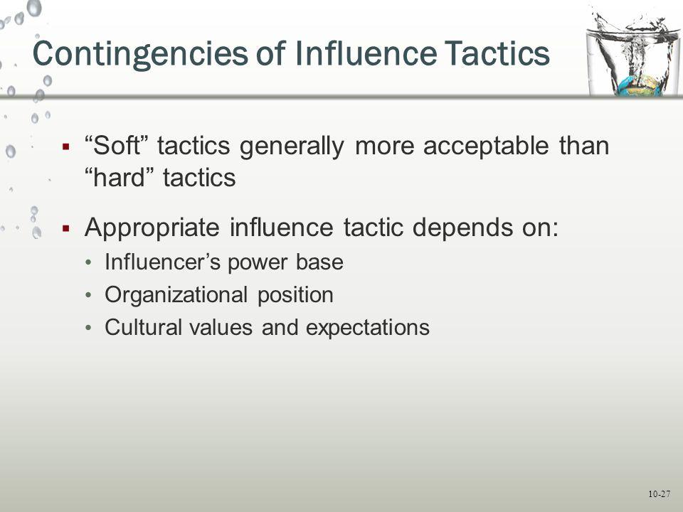 Contingencies of Influence Tactics