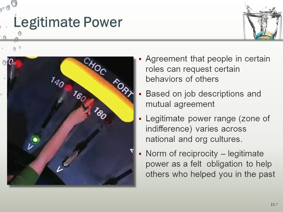 Legitimate Power Agreement that people in certain roles can request certain behaviors of others. Based on job descriptions and mutual agreement.