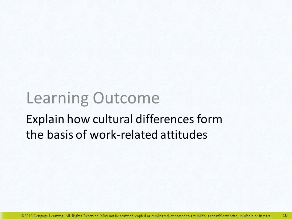 Learning Outcome Explain how cultural differences form the basis of work-related attitudes