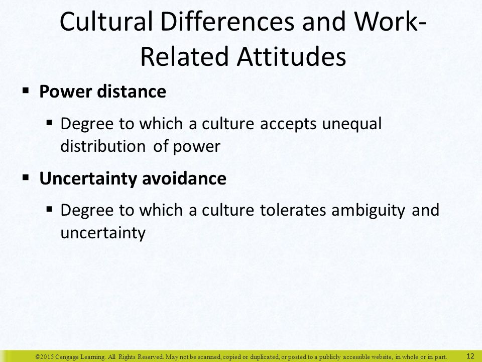 Cultural Differences and Work-Related Attitudes