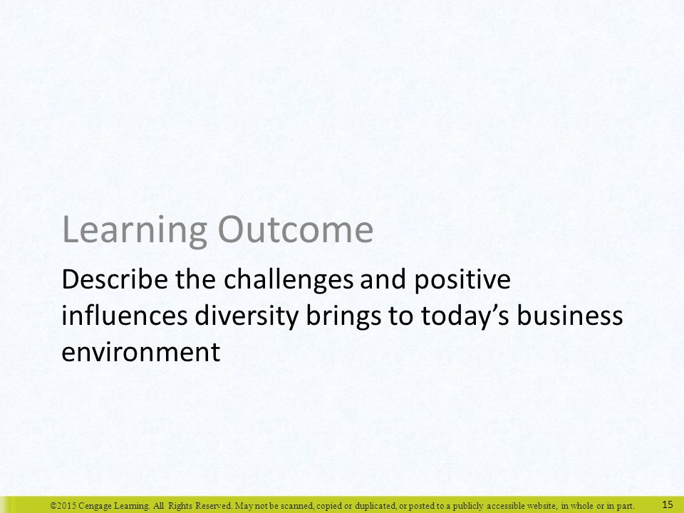 Learning Outcome Describe the challenges and positive influences diversity brings to today's business environment.