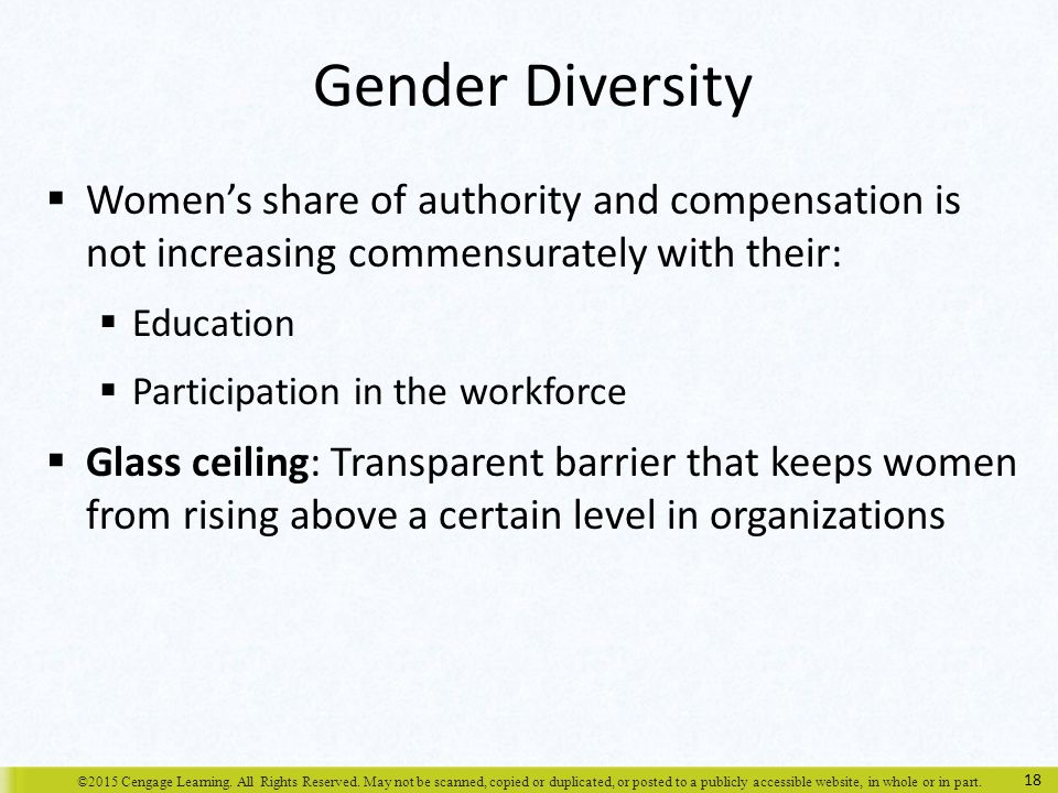 Gender Diversity Women's share of authority and compensation is not increasing commensurately with their: