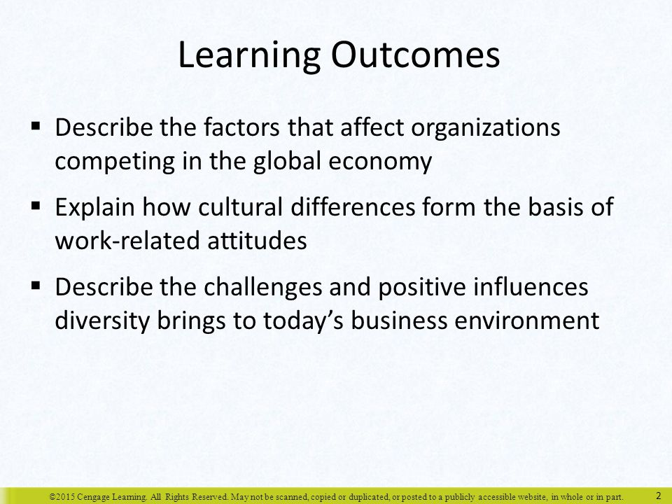 Learning Outcomes Describe the factors that affect organizations competing in the global economy.