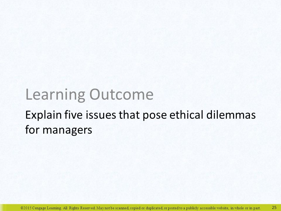 Explain five issues that pose ethical dilemmas for managers