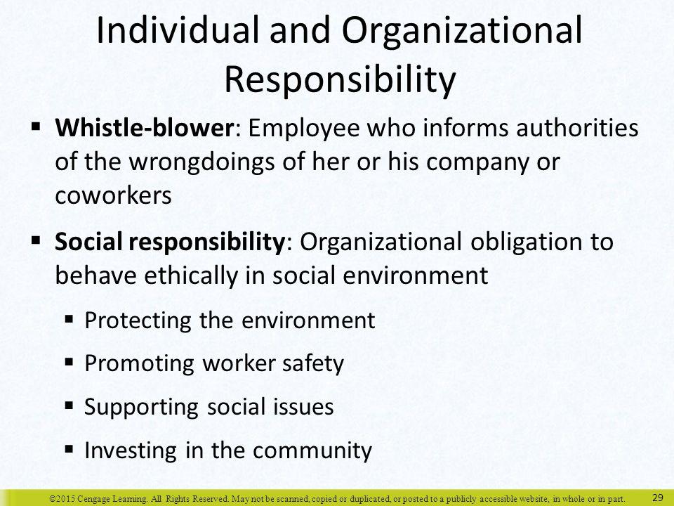 Individual and Organizational Responsibility