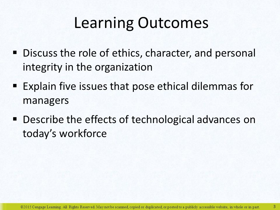 Learning Outcomes Discuss the role of ethics, character, and personal integrity in the organization.
