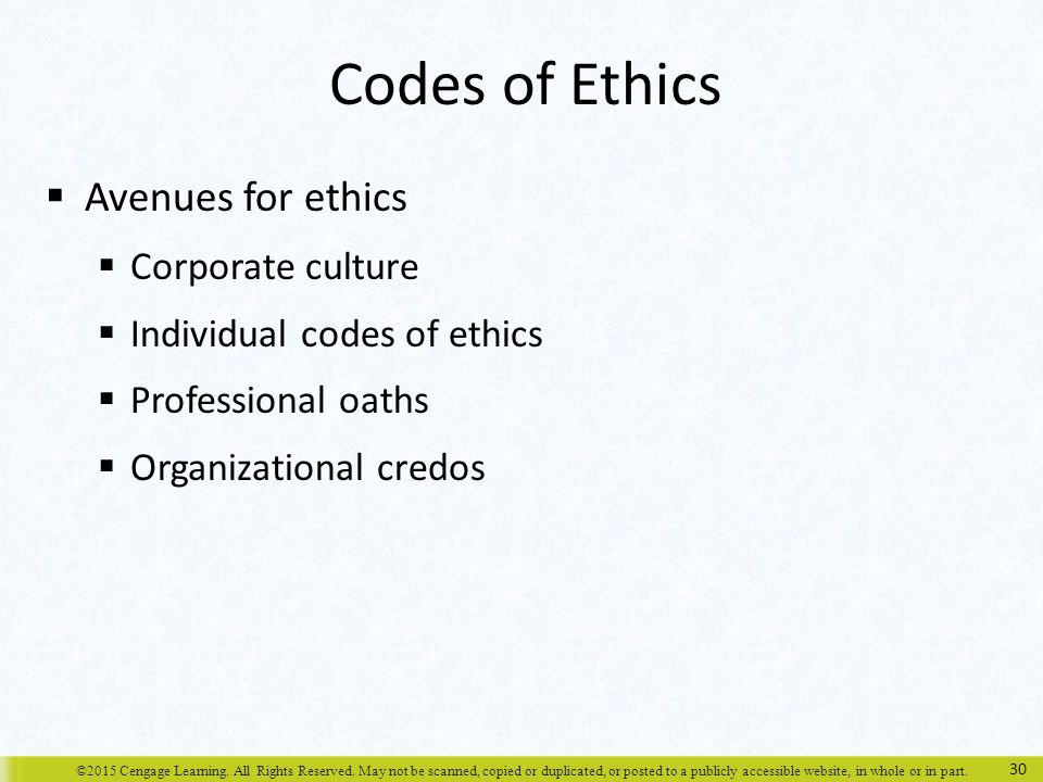 Codes of Ethics Avenues for ethics Corporate culture