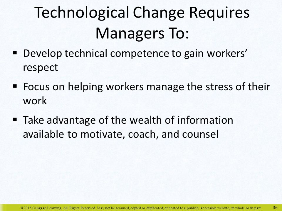 Technological Change Requires Managers To: