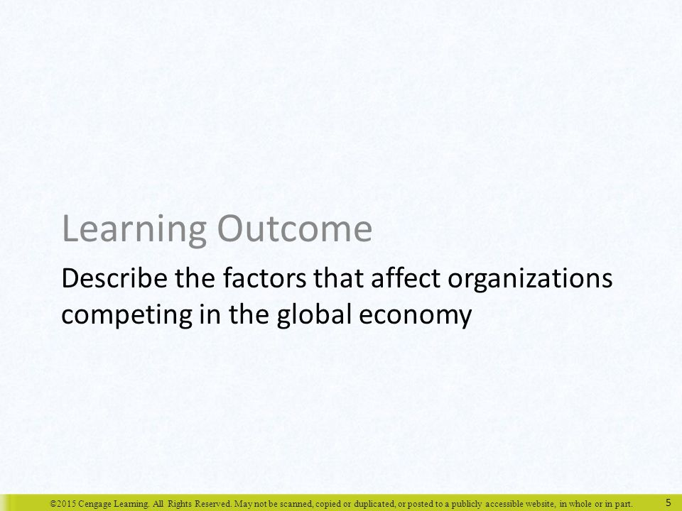 Learning Outcome Describe the factors that affect organizations competing in the global economy