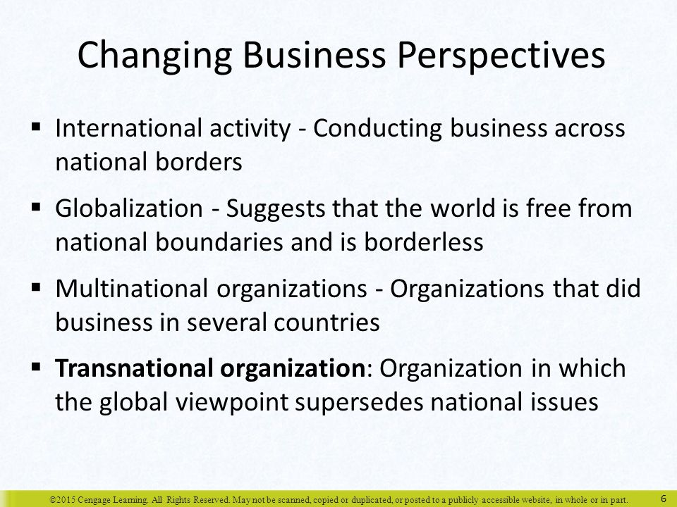 Changing Business Perspectives