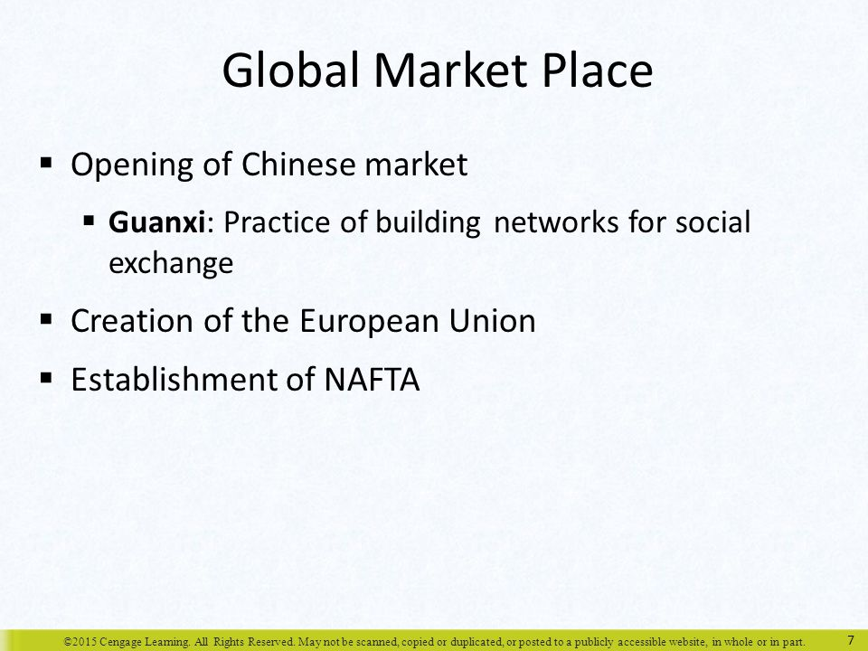 Global Market Place Opening of Chinese market