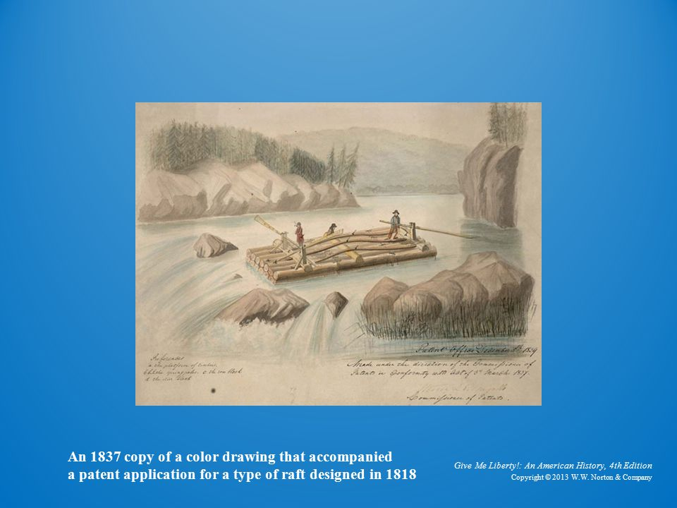 Drawing of Log Raft An 1837 copy of a color drawing that accompanied