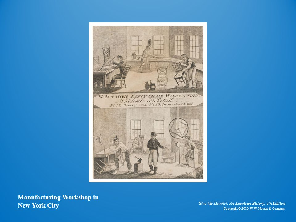 Card Depicting a Chair Manufacturing Workshop