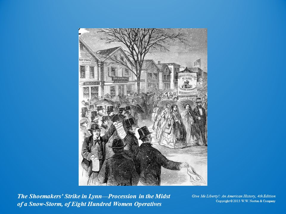 Engraving The Shoemakers' Strike in Lynn—Procession in the Midst of a Snow-Storm, of Eight Hundred Women Operatives