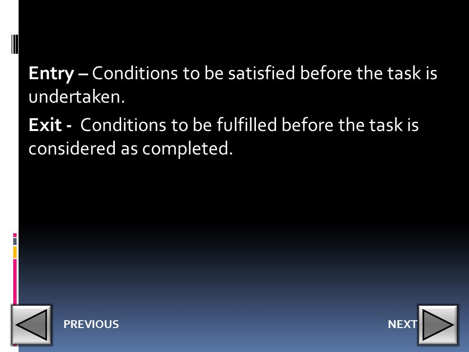 Entry – Conditions to be satisfied before the task is undertaken