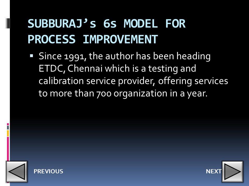 SUBBURAJ's 6s MODEL FOR PROCESS IMPROVEMENT