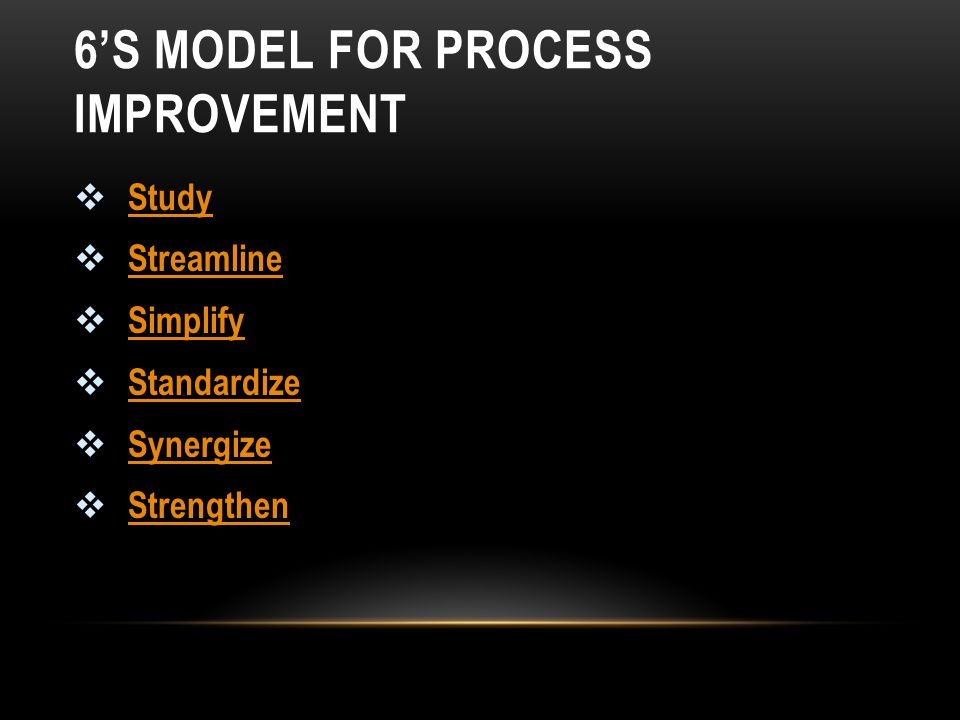 6'S MODEL FOR PROCESS IMPROVEMENT
