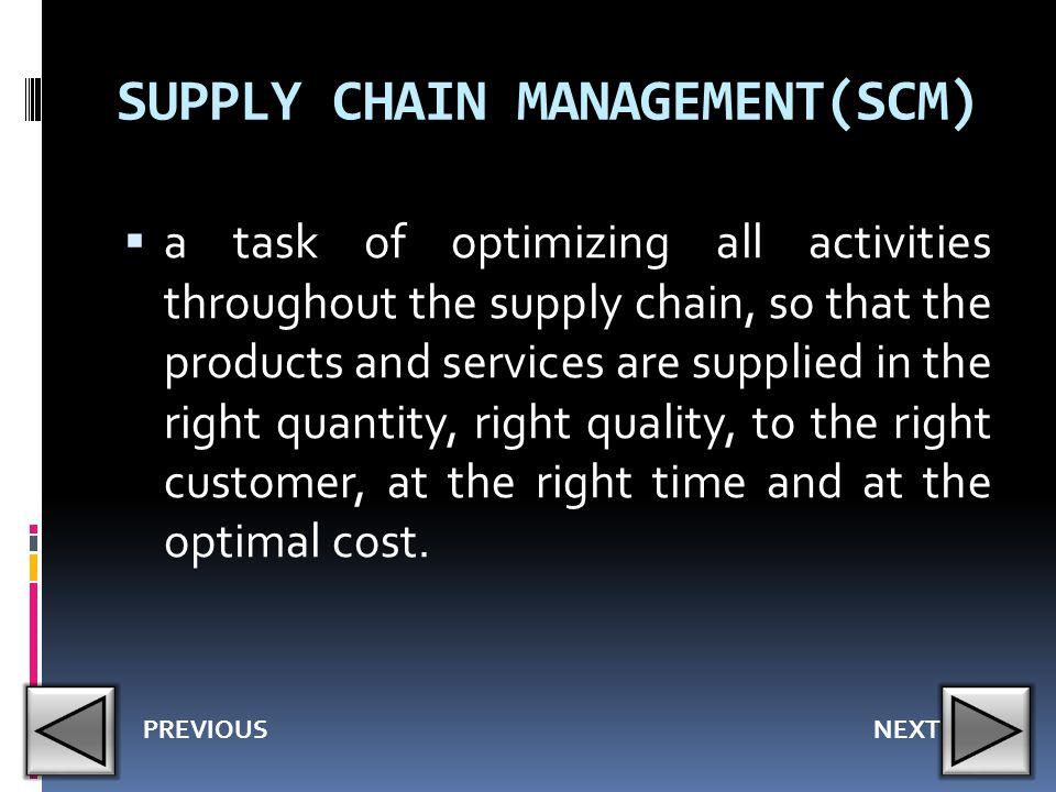 SUPPLY CHAIN MANAGEMENT(SCM)