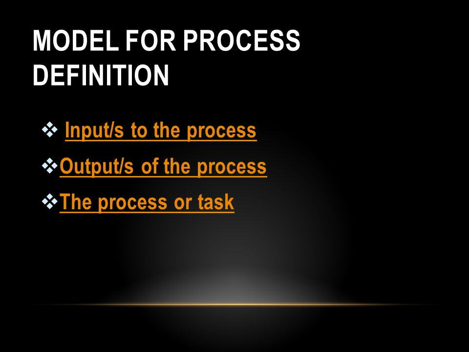 MODEL FOR PROCESS DEFINITION