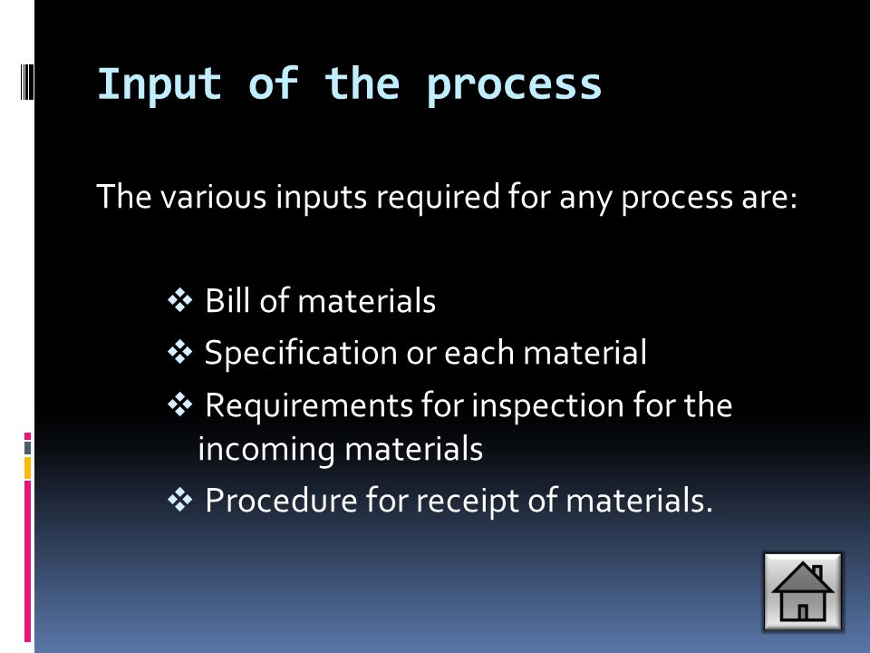 Input of the process The various inputs required for any process are: