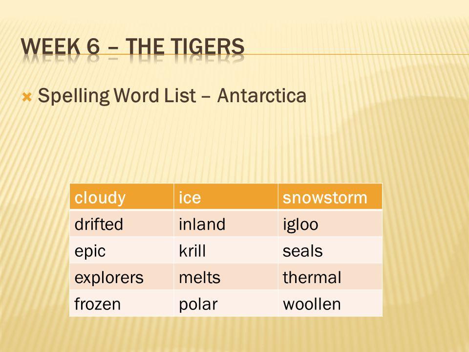 Week 6 – The tigers Spelling Word List – Antarctica cloudy ice