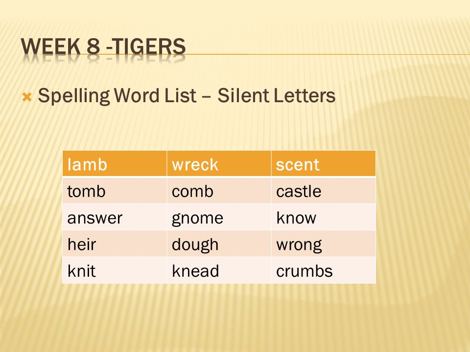 Week 8 -Tigers Spelling Word List – Silent Letters lamb wreck scent