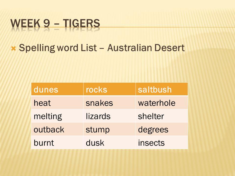 Week 9 – Tigers Spelling word List – Australian Desert dunes rocks