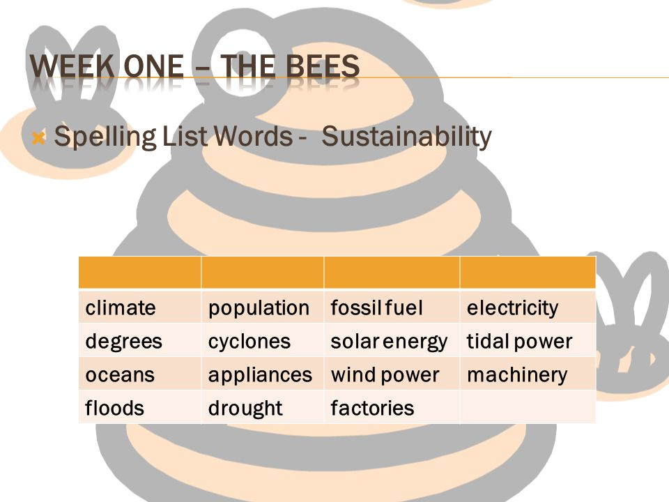 Week one – The Bees Spelling List Words - Sustainability climate