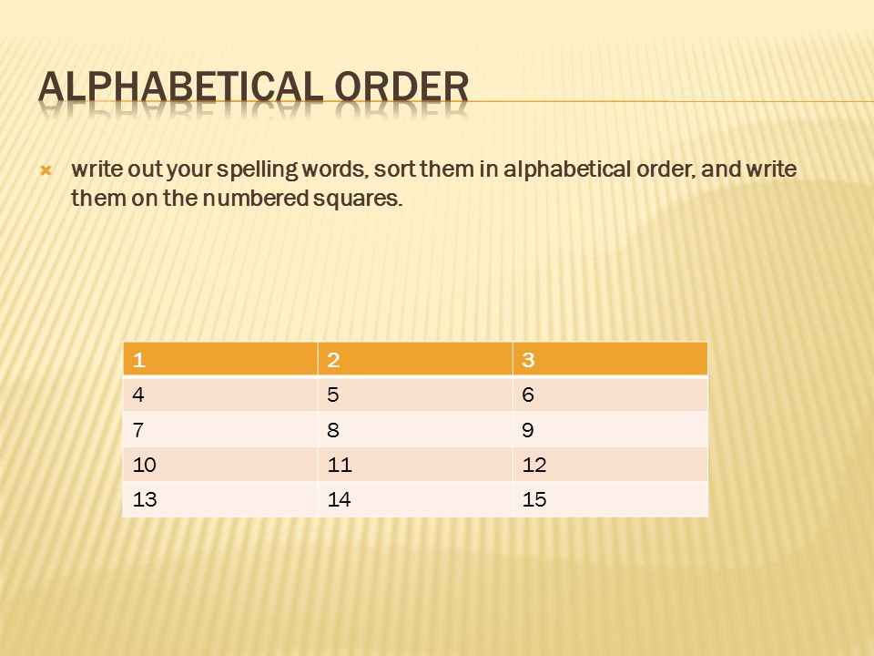 Alphabetical Order write out your spelling words, sort them in alphabetical order, and write them on the numbered squares.