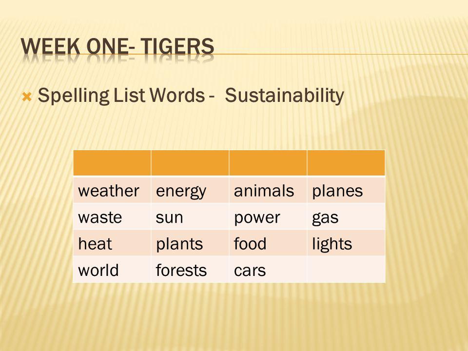 Week One- Tigers Spelling List Words - Sustainability weather energy