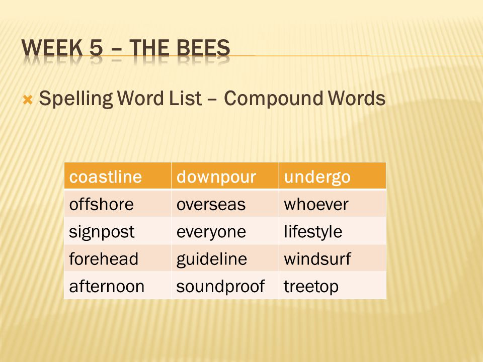 Week 5 – The bees Spelling Word List – Compound Words coastline