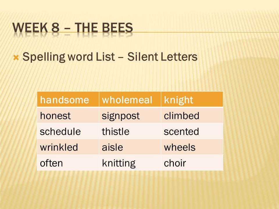Week 8 – The bees Spelling word List – Silent Letters handsome
