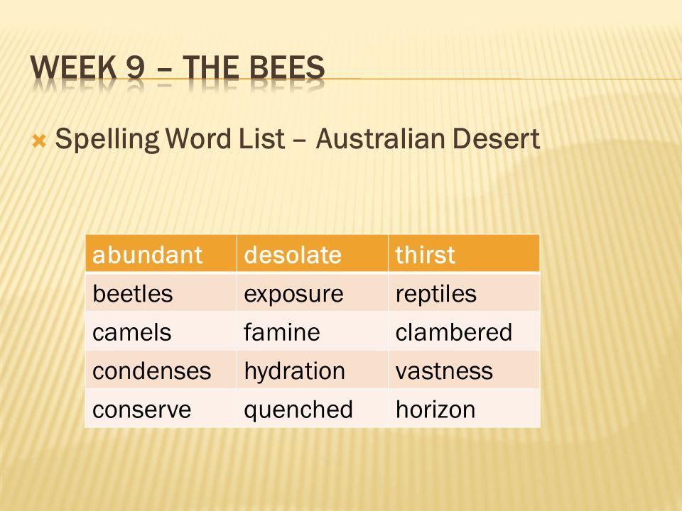 Week 9 – The bees Spelling Word List – Australian Desert abundant