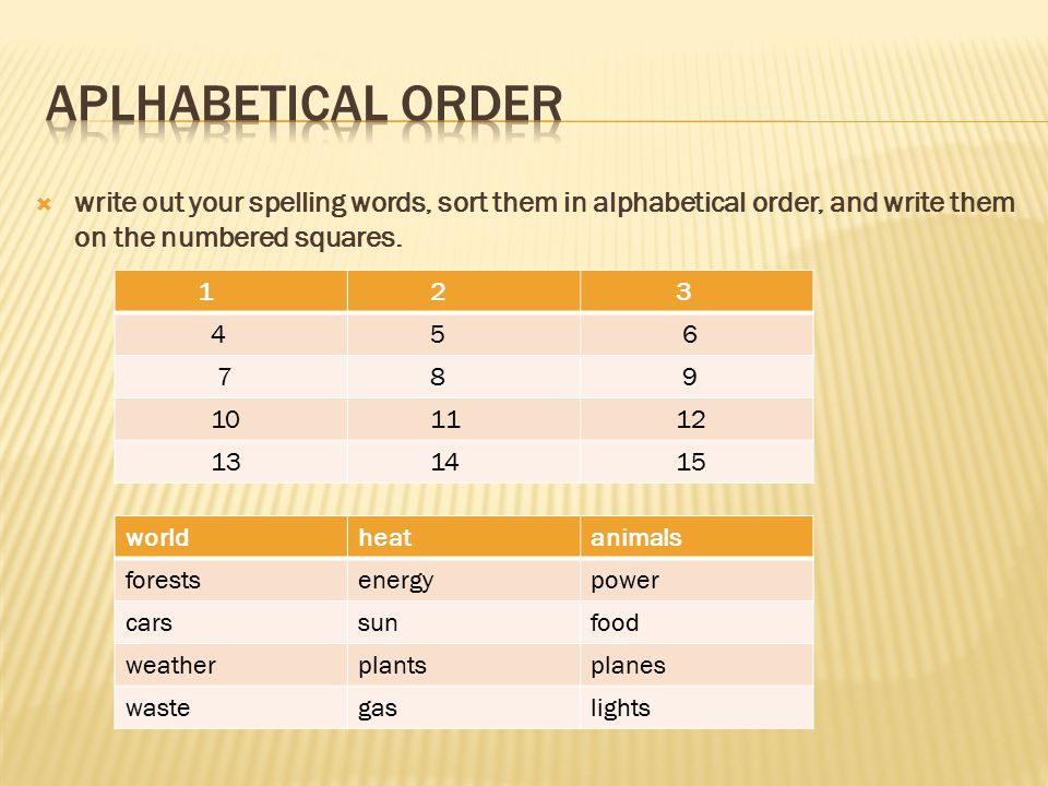 Aplhabetical Order write out your spelling words, sort them in alphabetical order, and write them on the numbered squares.