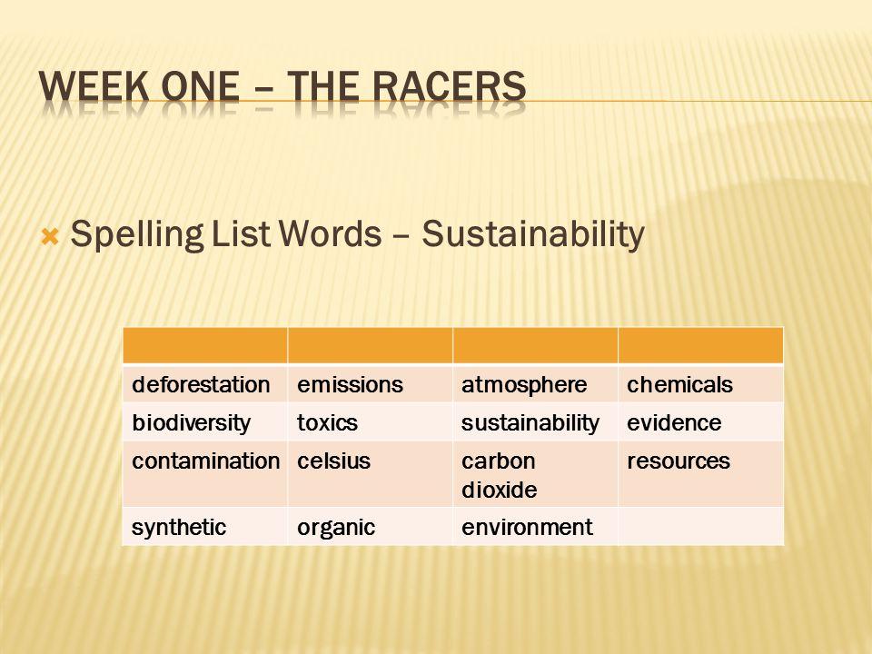 Week one – The Racers Spelling List Words – Sustainability