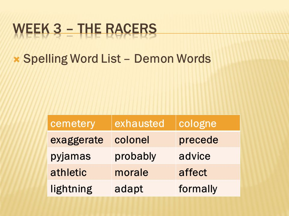 Week 3 – the racers Spelling Word List – Demon Words cemetery