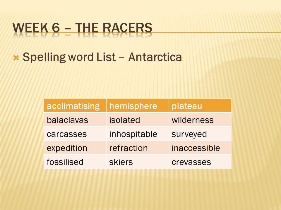 Week 6 – The racers Spelling word List – Antarctica acclimatising